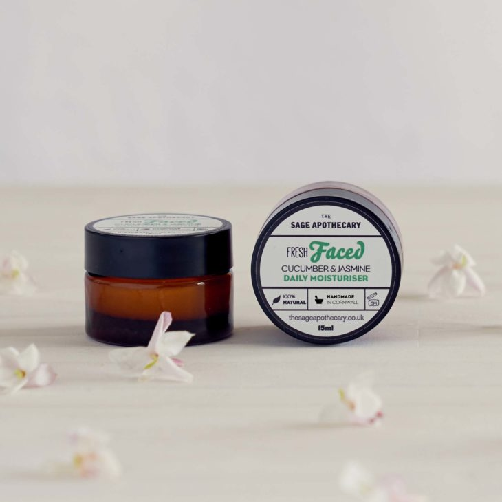 The Sage Apothecary, Fresh Faced Mini Moisturiser, Combination Skin, Cucumber & Jasmine